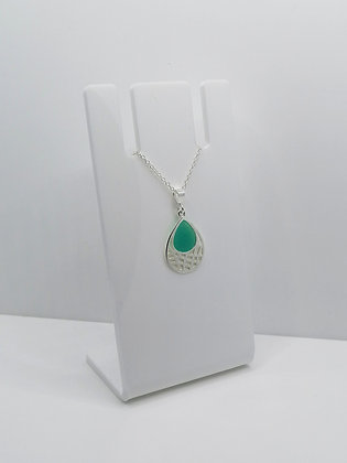 Sterling Silver Patterned Drop Pendant - Turquoise
