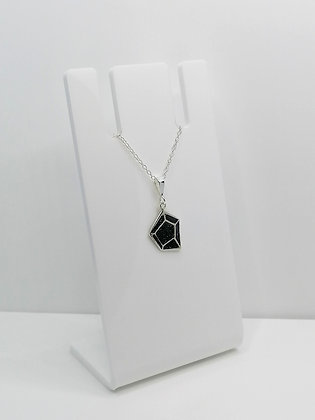 Sterling Silver Geometric Pendant - Black