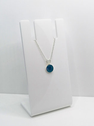 Sterling Silver Small Round Pendant - Blue