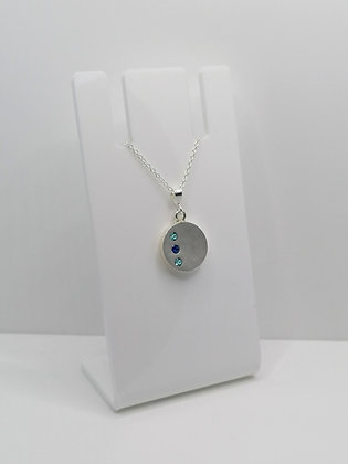 Sterling Silver Round Pendant with Swarovski Crystal - Blues