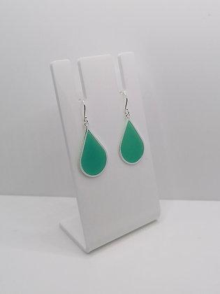 Sterling Silver Large Teardrop Earrings - Turquoise