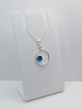 Sterling Silver Ring Pendant with Side Circle - Blue