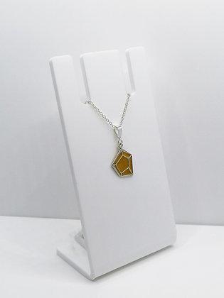 Sterling Silver Geometric Pendant - Mustard Yellow