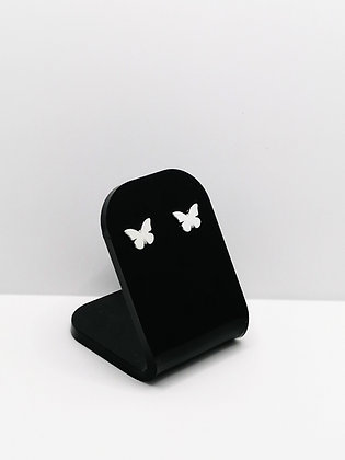 Sterling Silver Plain Butterfly Studs