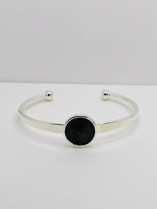 Silver Plated Resin Bangle - Black