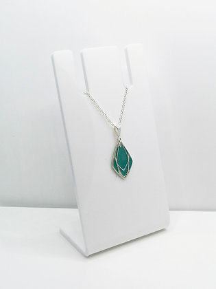 Sterling Silver Geometric Diamond Pendant - Turquoise