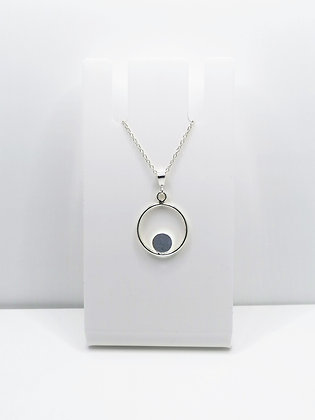 Sterling Silver Ring Pendant with Circle - Lilac Blue