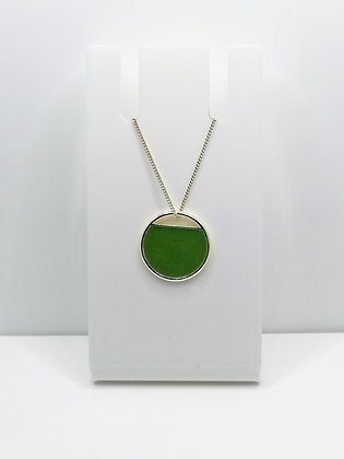 Sterling Silver Cutout Circle Pendant - Green