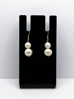 Sterling Silver Pearl Duo Earrings