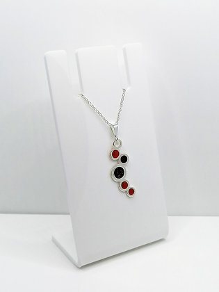 Sterling Silver Circles Pendant - Red