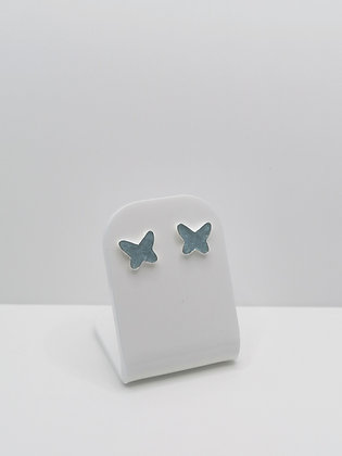Sterling Silver Butterfly Resin Studs - Pale Blue