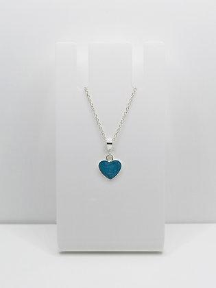 Sterling Silver Heart Pendant -Pastel Blue