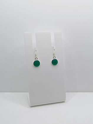 Sterling Silver Round Earrings - Turquoise