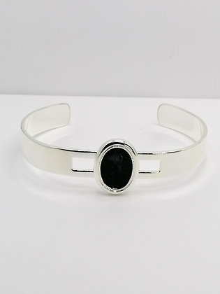 Silver Plated Oval Resin Bangle - Black