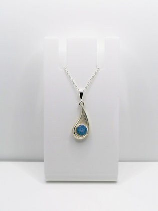 Sterling Silver Drop Pendant - Pastel Blue