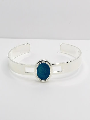 Silver Plated Oval Resin Bangle - Blue