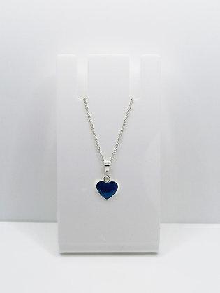 Sterling Silver Heart Pendant -Bright Blue
