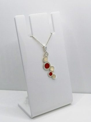 Sterling Silver Circles Pendant - Red Pearl