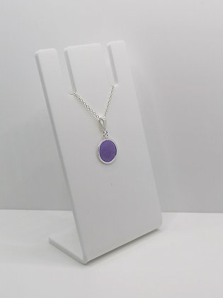 Sterling Silver Circle Pendant - Purple