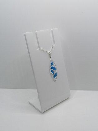 Sterling Silver Leaf Pendant - Blue
