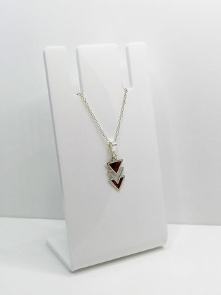 Sterling Silver Triangles Pendant - Dark Red