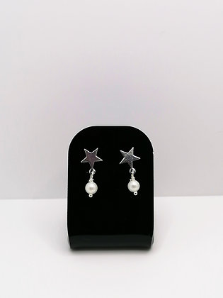 Sterling Silver Star Studs - Shell Pearl