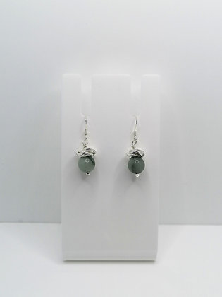 Sterling Silver Thistle Earrings - Jadeite