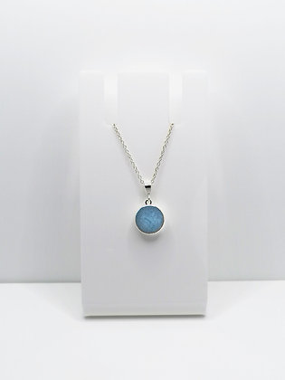 Sterling Silver Round Pendant - Pale Blue
