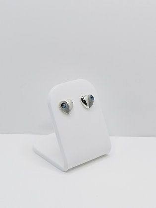 Sterling Silver Heart Studs -  Navy Crystal