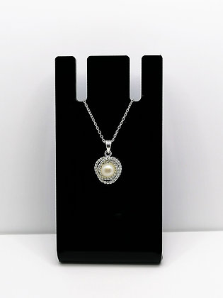 Sterling Silver Twisted Pearl Knot Pendant