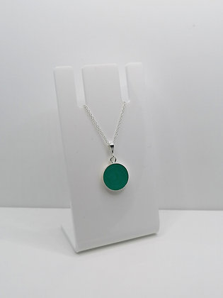 Sterling Silver Round Pendant - Turquoise