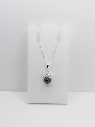 Sterling Silver Thistle Pendant - Teal Shell Pearl