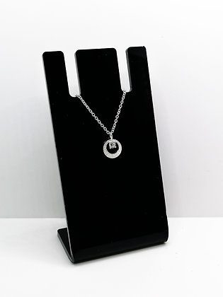 Sterling Silver Brushed Silver Pendant - CZ
