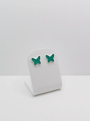 Sterling Silver Butterfly Resin Studs - Turquoise