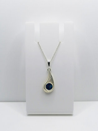 Sterling Silver Drop Pendant - Teal Blue