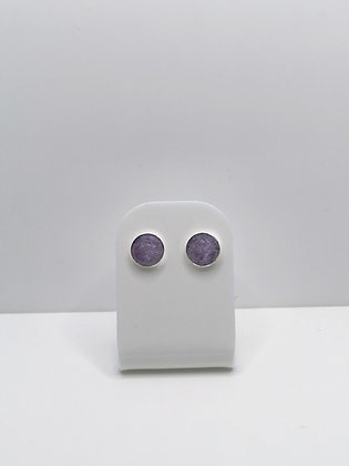 Sterling Silver Round Studs - Lilac