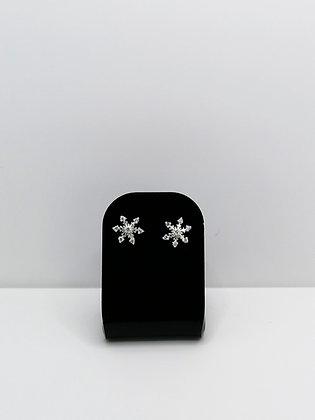 Sterling Silver CZ Snowflake Studs