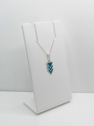 Sterling Silver Triangles Pendant - Blue