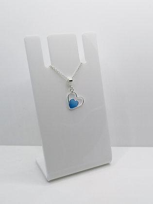 Sterling Silver Heart Pendant - Blue
