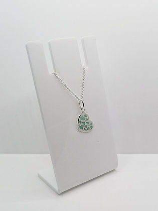 Sterling Silver Multi Heart Pendant - Turquoise