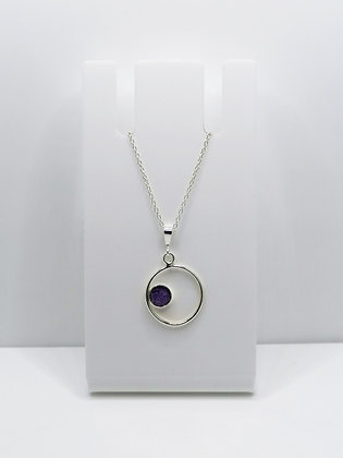 Sterling Silver Ring Pendant with Circle - Purple