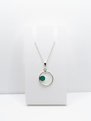 Sterling Silver Ring Pendant with Circle - Turquoise