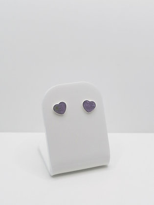 Sterling Silver Small Resin Heart Studs - Lilac