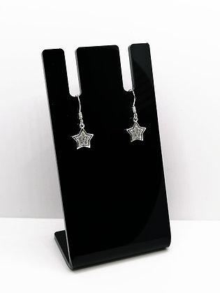 Sterling Silver CZ Star Earrings