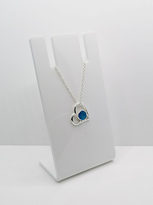 Sterling Silver Heart Pendant - Blue
