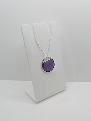 Sterling Silver Cutout Circle Pendant - Purple