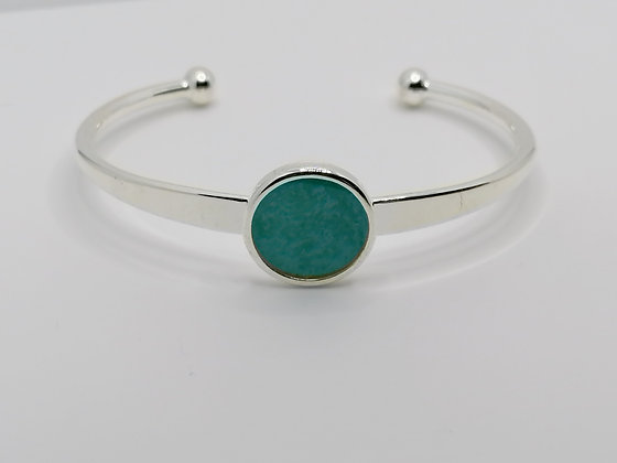Silver Plated Resin Bangle - Turquoise