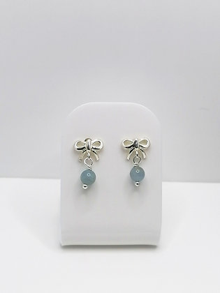 Sterling Silver Bow Studs - Aquamarine