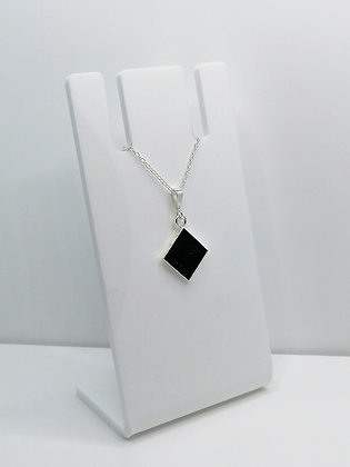 Sterling Silver Diamond Pendant -Black