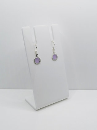 Sterling Silver Round Drop Earrings - Lilac